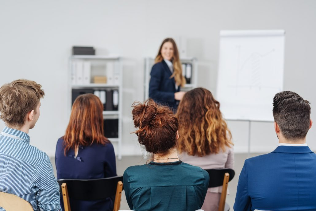 Group of young professional people in a meeting or training session sitting listening to a businesswoman give a presentation viewed from the rear